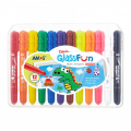 AMOS GF12PC GLASS FUN CRAYONS WASHABLE 12PC
